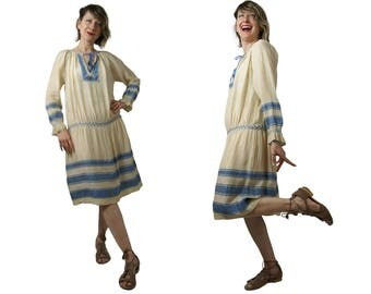 1920s Embroidered Silk Pongee Peasant Dress