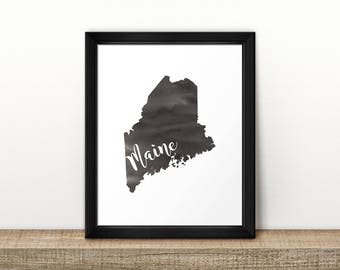 CLEARANCE // MAINE state map // Watercolor art print // Poster // Travel // Wall Art // Maine painting // US state map print // Home Decor