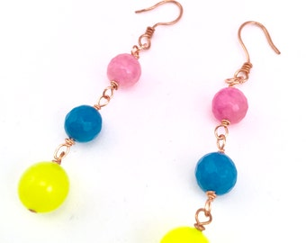 Bright Colored Beaded Earrings With Blue Jade Lime Jade and Pink Agate