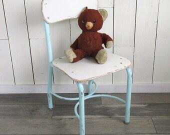 Mid Century Wood and Steel Child's School Chair - Shabby Cream & Robin's Egg Blue