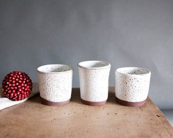 White cup tumbler, Kitchen Danish cups, Rustic unique tumblers, Scandinavian HYGGE mugs cups pottery, Gift Handmade ceramics by Polli Pots