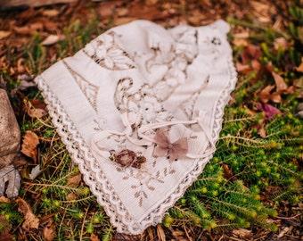 Dark neutral headband set with Vintage lace layering piece