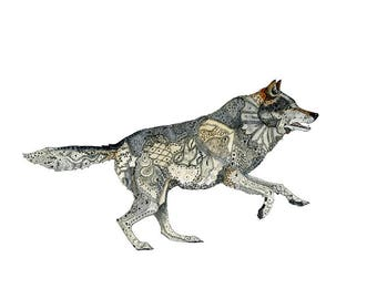 Wolf Grey Wolf running Print 8x11 inche Illustration of Grey Wolf