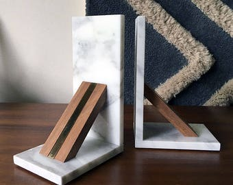 Calacatta marble, wood and brass bookends book ends