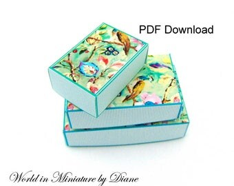 PDF Dollhouse Boxes, 1:12 Peacock Boxes Download, Dollhouse Peacock Boxes, 1 12 Digital Download, PDF Boxes Dollhouse, 1 12 Boxes Printie,