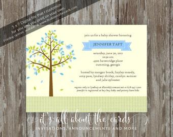 "Baby Shower invitations - Digital file ""Blue/Lemon - Tree of Love"" design"
