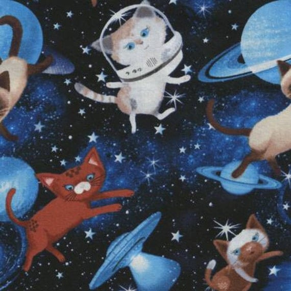 Timeless treasures meow for now space cats fabric 1 yard for Space kitty fabric
