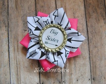 Big or little Sister..hair bow...pink, black, white and gold...arrows