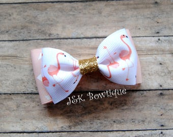 Double layer bow tie bow....Flamingo, coral, triangles, gold glitter, sparkly center, zoo animals