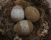 Carved and Etched Victorian Lace Pheasant Egg Trio and Bonus Nest