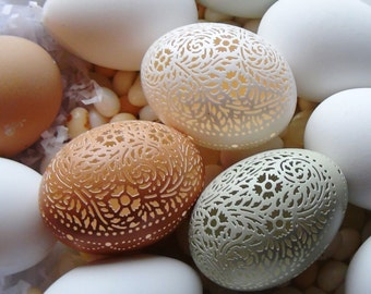 Made To Order: Hand Carved Victorian Lace Chicken Egg - Floral Oval