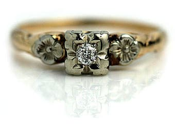 Vintage Floral Engagement Ring .10ctw Nature Inspired Engagement Ring European Cut Diamond Art Deco 14k Two Tone Gold Solitaire Ring!