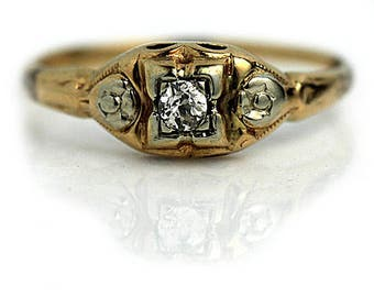 Vintage Rings For Her Diamond Ring Simple Engagement Ring .10ctw 14K Two Tone Gold Rose Gold Diamond 1940s Antique Diamond Ring Petite Ring!