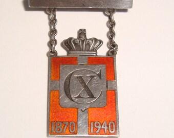 Vintage  Georg Jensen GJ King Mark Sterling Silver Pin Denmark