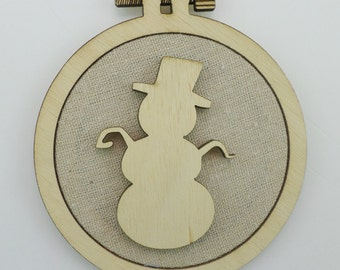 Christmas Snowman - Laser cut embroidery hoop with quality textile