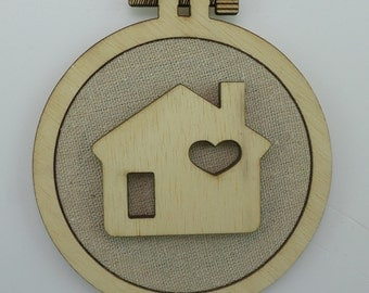 Christmas Home - Laser cut embroidery hoop with quality textile