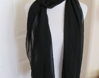 "Beautiful Solid Black Beaded Formal Sheer Soft Poly Scarf - 18"" x 78"" Long - Unused"