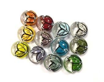 Twelve Rainbow Butterflies, A Set of Handmade Lampwork Lentil Beads, UK SRA