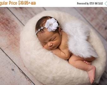 CHRISTMAS SALE White Feather Wing and Headband Set, Newborn Photo Prop, Baby Girl Prop, Girl Photography Prop Set, Newborn Photography, Baby
