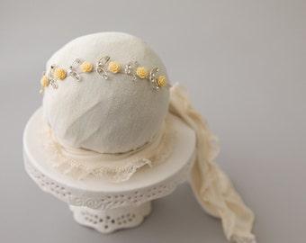 Flower Crown, Yellow Rhinestone Headband, Newborn Headband, Baby Girl Headband, Newborn Photo Prop, Photography Prop