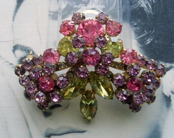 DeLizza and Elster a/k/a Juliana Riveted Rosette and Rhinestone Brooch 1950's  Bridal