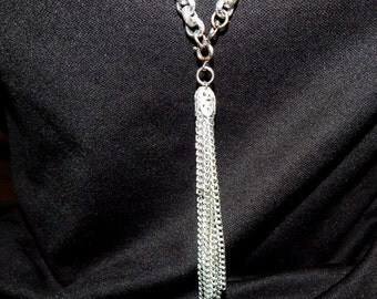 Vintage Silver Chain Necklace/ Belt, with Tassel