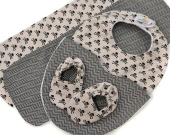 Baby Bundle - Tweed & Skulls - Great Value, Handmade Baby Gift, New Baby, Baby Boy, Bibs