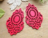 4 Pcs / WP45 /  # 3 Fuschia / Moroccan Style Filigree Wood Findings For Earring/Laser Cut Lace Charm / Pendant /  Colorful wooden earrings