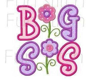 big sis big sister applique machine embroidery design instant download