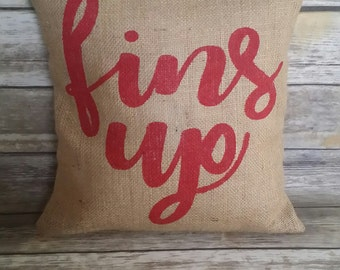 Ole Miss Fins Up Pillow, Burlap Pillow, Burlap Pillow Cover, Ole Miss, Hotty Toddy, Fins Up, Colonel Reb, Mississippi, Mississippi Pillow