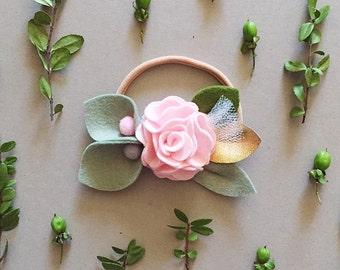 Felt Flower Headband, Floral Crown, Children Photo Prop, PALE PINK ROSE