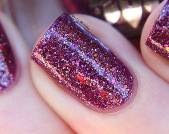 """Nail polish - """"Three's A Crowd""""  silver and iridescent glitter in a purple base"""