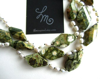 Ocean Jasper and Fresh Water Pearl Three Strand Silk Pearl-Knot Statement Necklace with Sterling Silver Details by LM-inspired