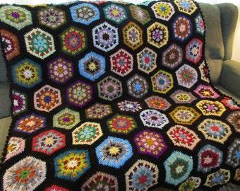 Handmade Crochet Multi-Colored Black Edged Kaleidoscope Afghan 48 x 68
