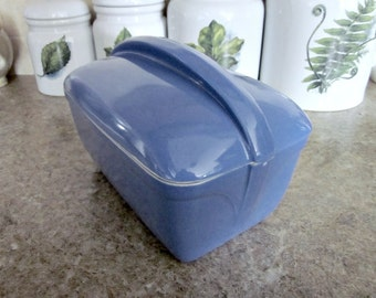 """Vintage Hall, Blue 9""""x5""""  Covered  Refrigerator Dish Made For Westinghouse, USA - Retro Kitchen Collectible - Covered Rectangle Loaf Dish"""