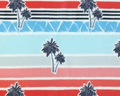 Red Blue Grey and Navy Sunset Palms Woven Board Short Fabric, Modern Maritime By Corinne Wells for Club Fabrics, 1 Yard