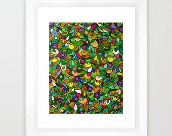 Garden City Art Print Green Yellow Colorful Floral Artwork Flowers