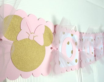 Pink and Gold Minnie Mouse Birthday Banner , birthday party decor, First Birthday, Highchair banner sign, 1st birthday, pink gold decoration