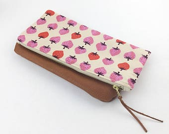 Folded Clutch/Leather/Canvas/Small Bag/Strawberry Fabric/Cotton + Steel Fabric