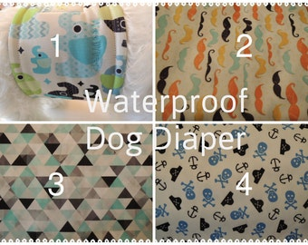 Waterproof Dog Diaper, Belly Band, Stop Marking, WeeWrap,  Personalized