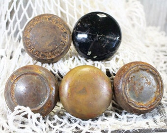 5 Old Door Knobs, Vintage Door Handles, Brass and Porcelain door knobs