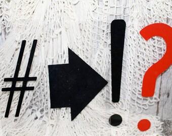Sign Symbols, Plastic Arrow Sign, Hash Tag sign, Question Mark sign, Per Cent sign, Cent sign