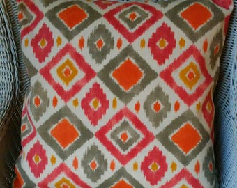 NEW Orange Diamonds Pillow cover All Sizes, Fabric Both Sides,Your Choice Size