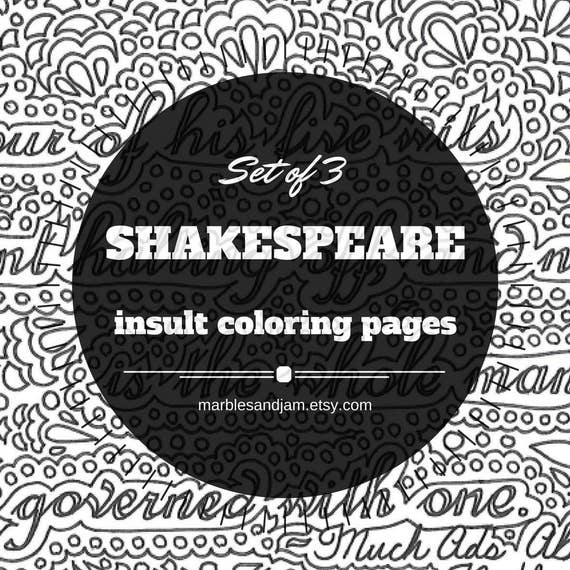 shakespeare insults set of 3 printable coloring page quotes crying coloring pages printable insult coloring pages