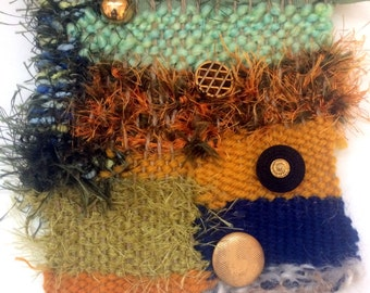 "Fabric Art Handwoven Mixed Media Vintage Buttons w/ Yarn Ribbon Twine Texture 5""x7"" Approx"
