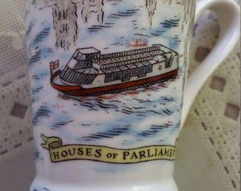 Cute David Birch Mug Thames UK Parliament London Pottery vintage cup