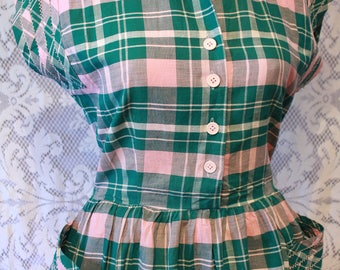 Vintage 1950s Pink and Green Plaid Dress with Interesting Fagoted Seam Stitching
