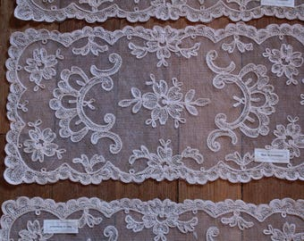 Stunning Antique Old Stock Embroidered Lace Netting Doily Made in Switzerland