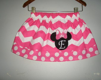 Disney SALE Minnie Mouse Pink skirt Chevron  with applique  (available in sizes  2t,3t,4t,5t,6,7,8