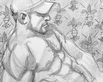 The Scent of a Trucker, 11x9 inches artist's crayon on sketchbook paper by Kenney Mencher